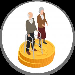 איור: אזרח ותיק ואזרחית ותיקה עומדים על שני מטבעות