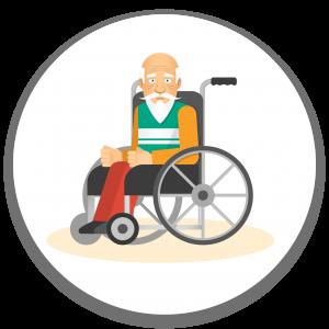 איש מבוגר עם שיער וזקן לבן על כסא גלגלים