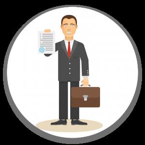 איור: איש עם חליפה מחזיק מזוודה עסקית וביד השנייה מסמך אישור