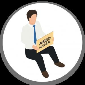 איור: איש עם חליפה יושב על הרצפה ובידיו שלט - צריך עבודה