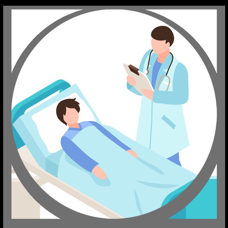 איור: רופא מתשאל פינצט בחדר המיון. הפינצט במיטה