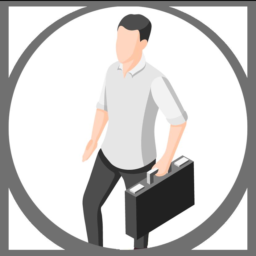 איור: איש עם מזוודה עסקית