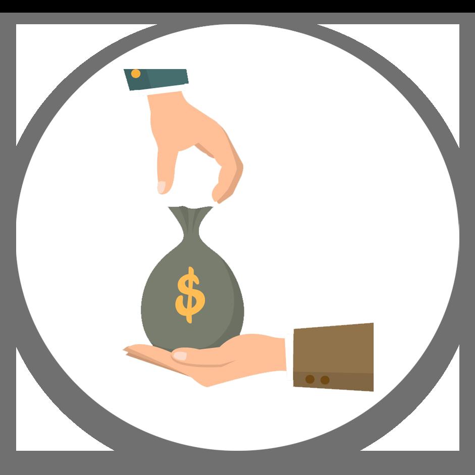 איור: שני ידיים אחת נותנת והשנייה מקבלת שק גדול של כסף