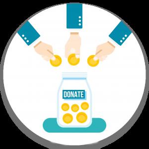 איור: שלוש יידים תרומות מטבע לתוך צנצנת עם כסף